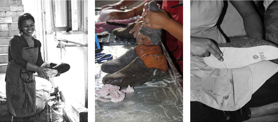 Pantoufles fabriquées par des mains humaines !